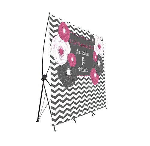 Photocall Flexible Boda Flores Rayadas