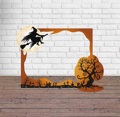 Photocall Halloween Bruja Sobre Cementerio