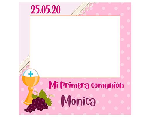 Photocall Personalizado Mi Primera Comunión Rosa