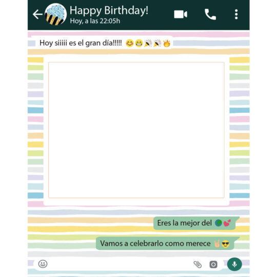 Photocall Whatsapp Cumpleaños Fondo Rayas Colores diseño