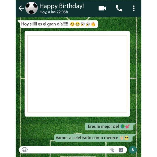 Photocall Personalizado Whatsapp Cumpleaños fondo fútbol diseño