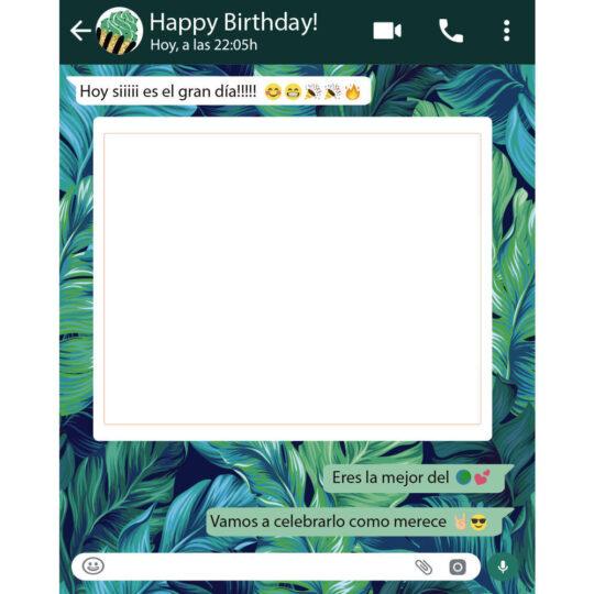 Photocall Personalizado Whatsapp Cumpleaños fondo hojas diseño