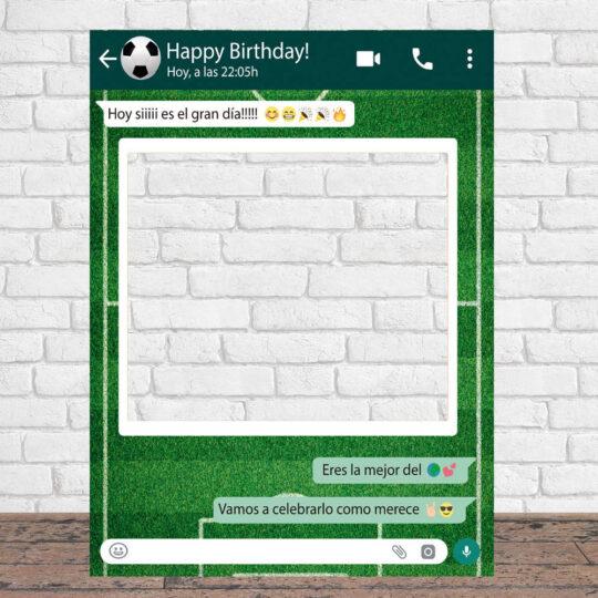 Photocall Personalizado Whatsapp Cumpleaños fondo fútbol