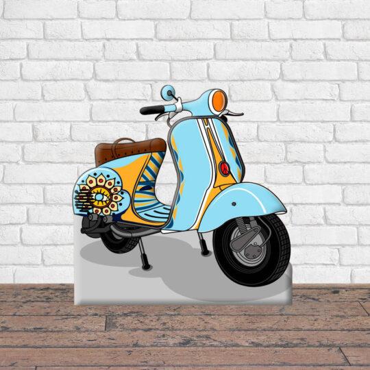 Photocall Moto Vespa Azul Claro