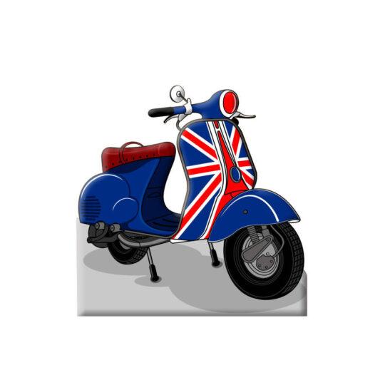 Photocall Moto Vespa Azul Reino Unido diseño