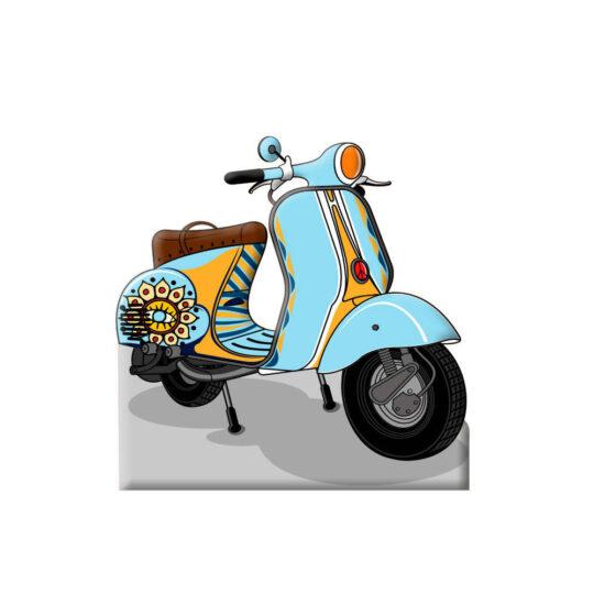 Photocall Moto Vespa Azul Claro diseño