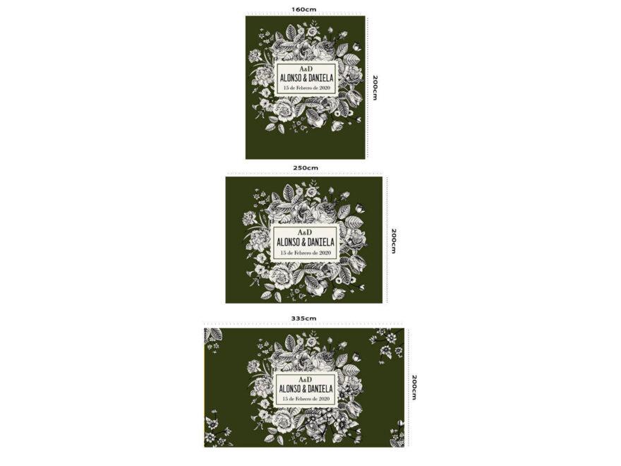 Photocall Boda Floral Verde Oscuro medidas