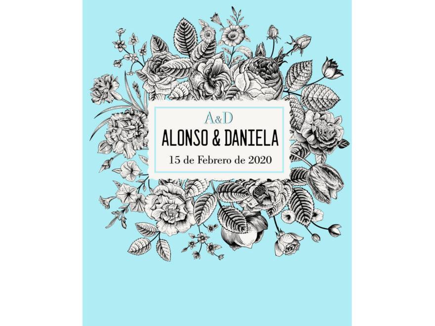 Photocall Boda Floral Azul Claro diseño