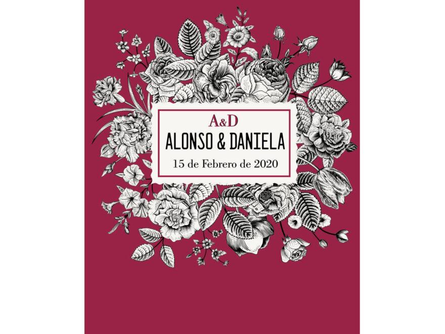 Photocall Boda Floral Vino diseño