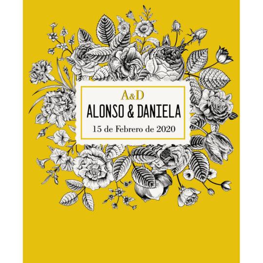 Photocall Boda Floral Amarillo diseño