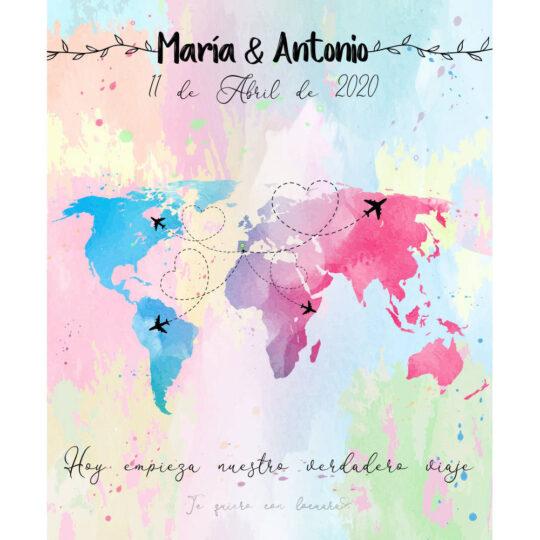 Photocall Boda Mapa Mundo diseño