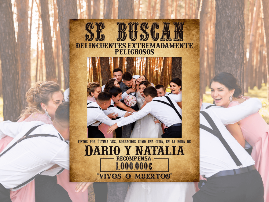 Photocall Boda Oeste + Atrezos